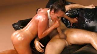 Appealing and obtainable blonde with deep throat is deep kissing on his enormous cock