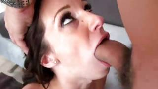 Bitch is rubbing her breasts while swallowing the sweetmeat