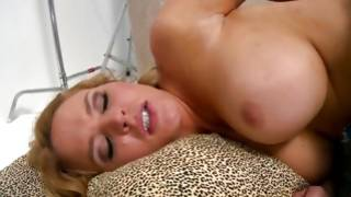 Curly amateur natural blonde with overweight honkers sucks and rides