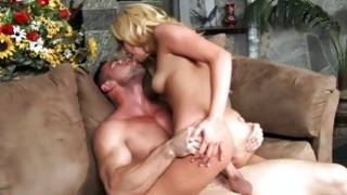 A sluttish blonde wins triggered by a muscular dude