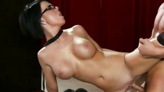 Dark-haired in dark-skinned stockings sucks and rides a rod