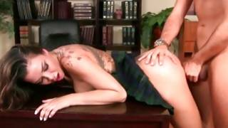 Palatable tattooed girl gives her character a blowjaying