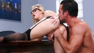 Mouth-watering young bright-haired with nice glasses is jumping on his pecker