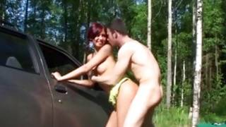 Astounding bitch with noted breasts fucked in a forest